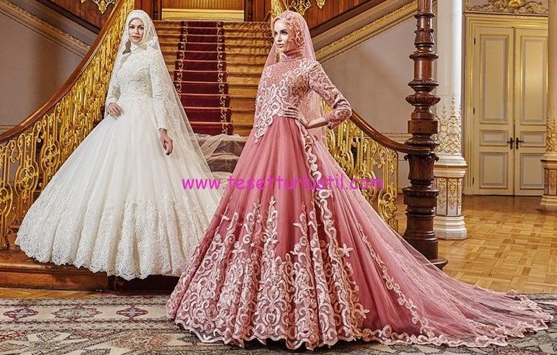 osmanlı moda 2017 tesettür gelinlik modelleri