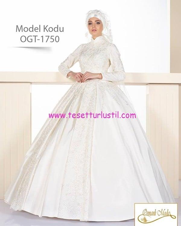 osmanlı moda 2017 yeni sezon tesettür gelinlik modelleri