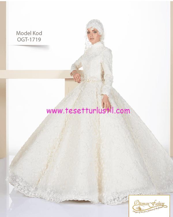 osmanlı moda 3 boyut dantelli tesettür gelinlik