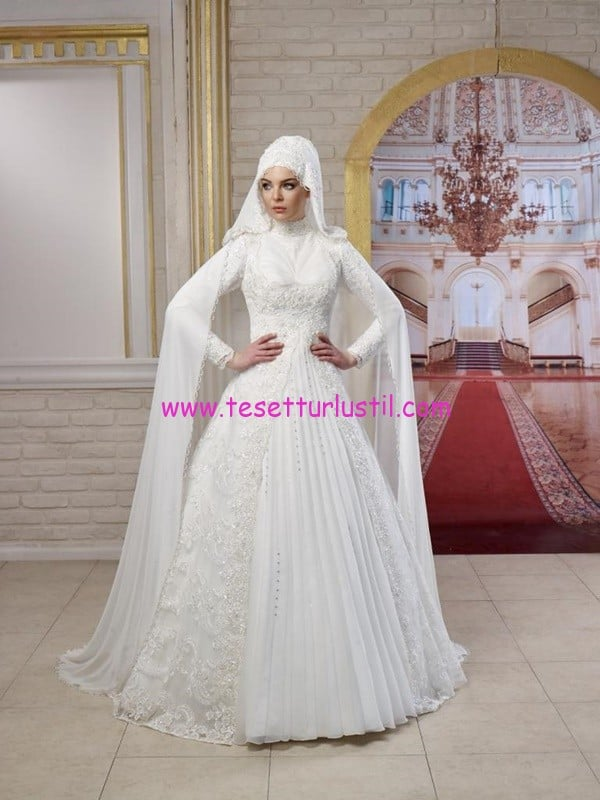 osmanlı moda-OG1419-pelerinli tesettür gelinlik