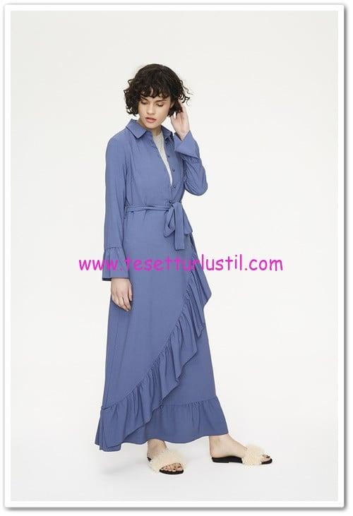 touche indigo fırfırlı elbise