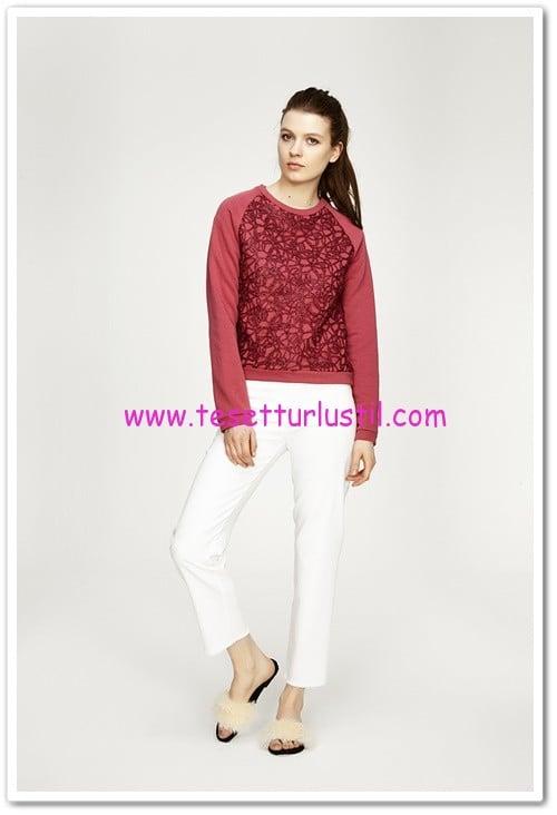 touche simli dantel detaylı rose örme bluz