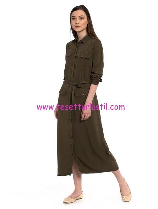 LCW haki kuşaklı cep detaylı uzun elbise-70 TL