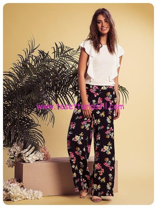 LCW siyah desenli dökümlü pantolon-50 TL