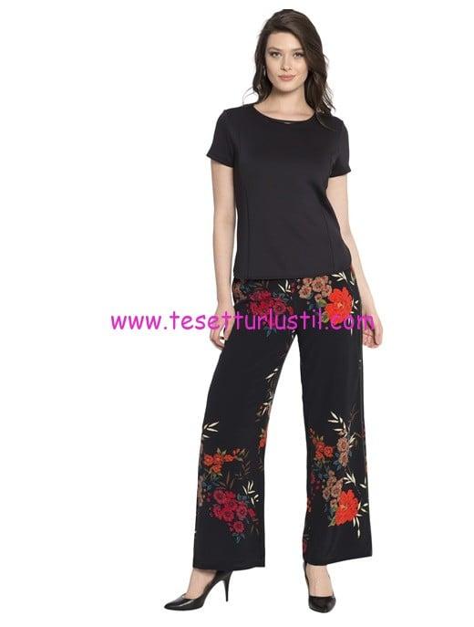 LCW siyah desenli yüksek bel pantolon-50 TL