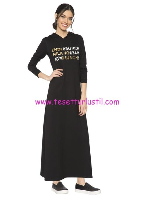 LCW siyah yazı baskılı uzun spor elbise-60 TL