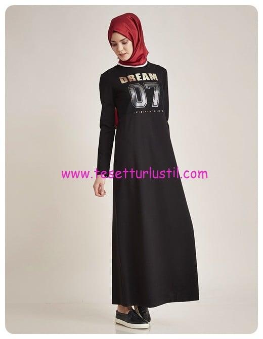 kayra baskili spor elbise siyah