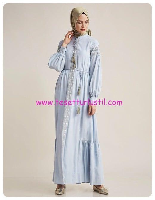 kayra etnik desen elbise mavi