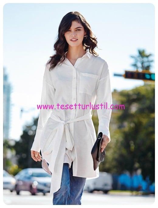 lcw beyaz kuşaklı bayan gömlek tunik-50 TL