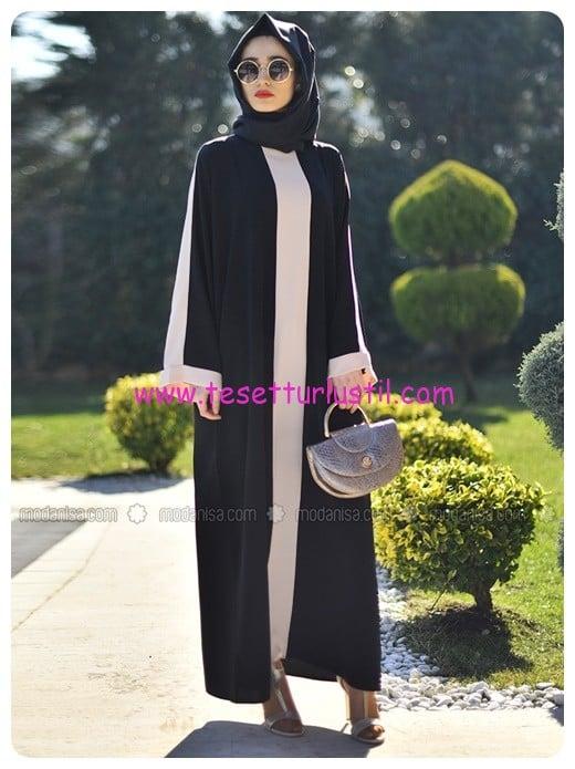 ferace-elbise-siyah-krem-gabra