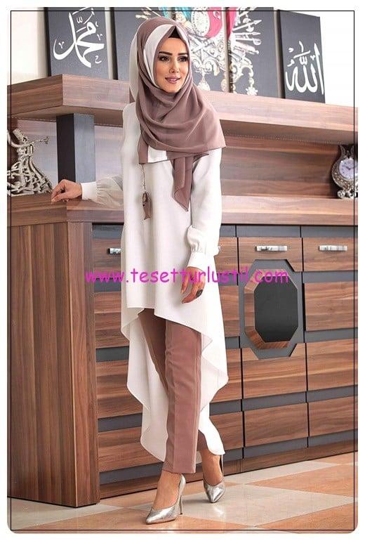 tofisa 6 parça volenli beyaz vizon tunik pantolon takım-130 TL