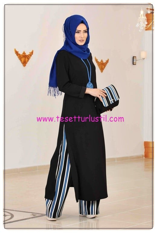 tofisa 7 parça çizgili pantolon tunik takım-siyah saks-120 TL