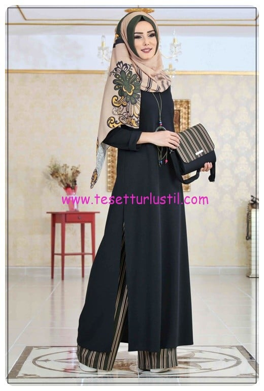 tofisa siyah haki tunik pantolon şal kolye çanta kombin-170 TL