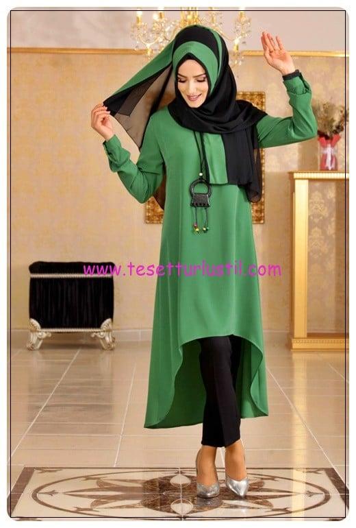 tofisa yeşil siyah tunik pantolon takım-130 TL