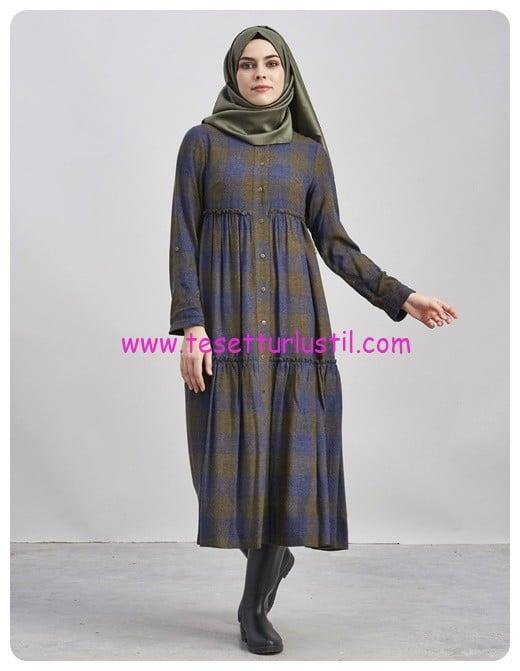 kayra-oduncu-ekose-elbise-haki-230 TL