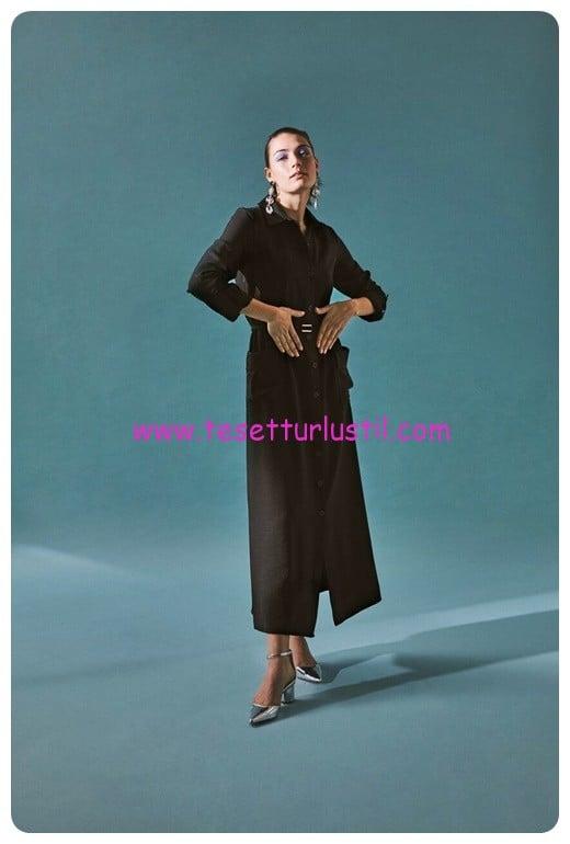 latifa 2018 hayford uzun siyah elbise-359 TL
