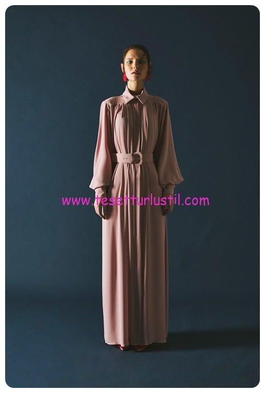 latifa uzun dokumlu pudra classy elbise-419 TL