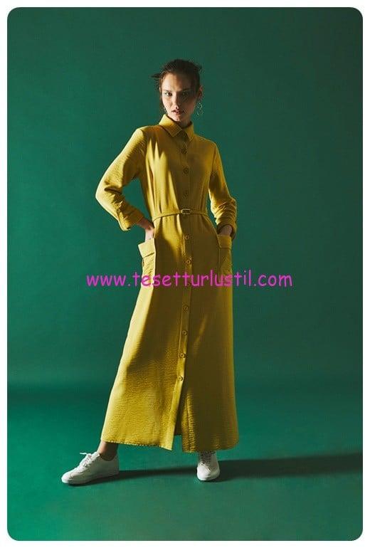 latifa uzun dugmeli elbise hayford safran-359 TL