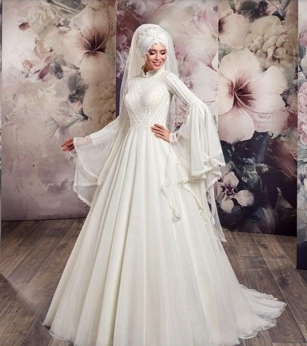30a30dcda0b8a 2019 Tesettür Gelinlik Modelleri | Tesettürlü Giyim Stilleri